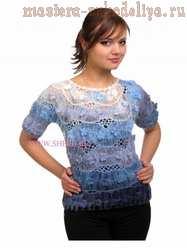 Схема вязания на вилке: Блуза на вилке с цветами крючком