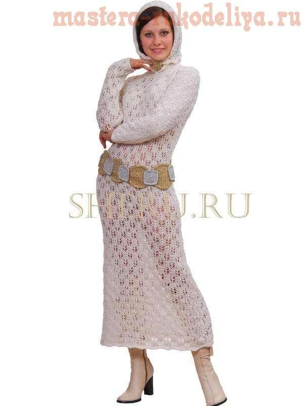 Схема вязания спицами: Белое платье с капюшоном