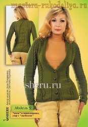 Схема вязания спицами: Кофта с карманами