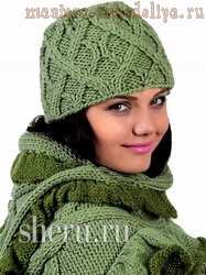 Схема вязания спицами: Комплект с объемным шарфом