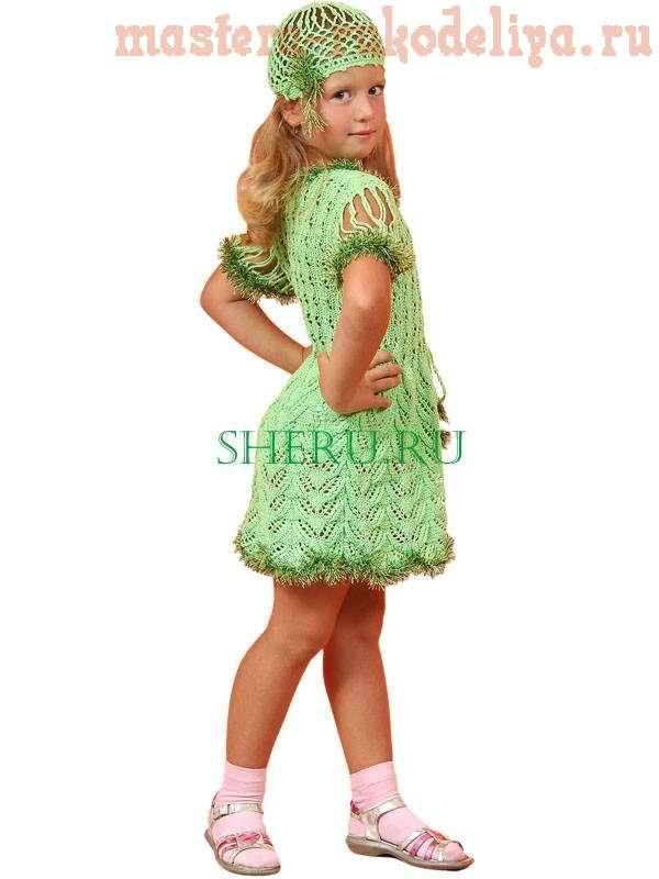Схема вязания: Детское платье с шапочкой