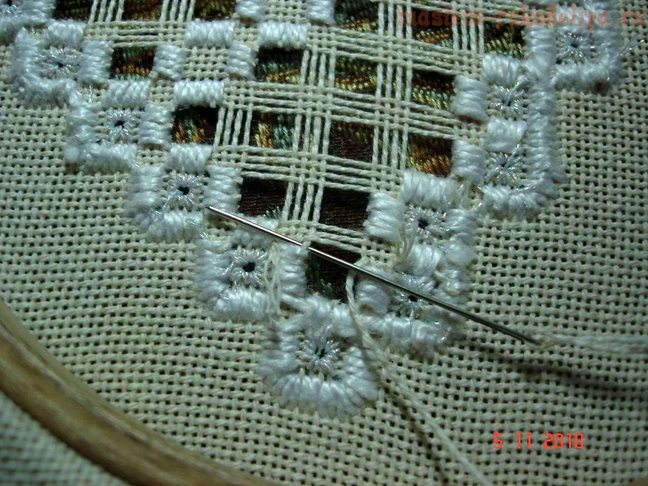 Хардангер: практический урок №3 - Замена разрезанных нитей канвы