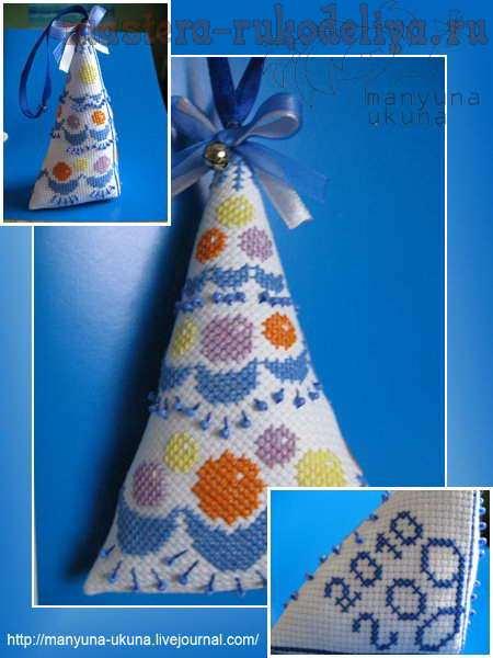 Схема для вышивки: Ёлочка с шариками