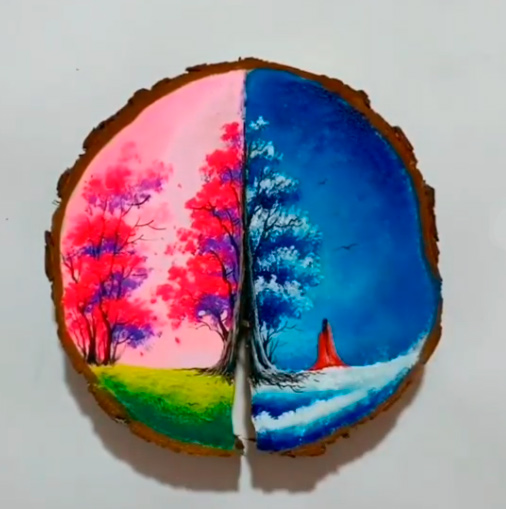 Картина на деревянном спиле; Осень-зима.
