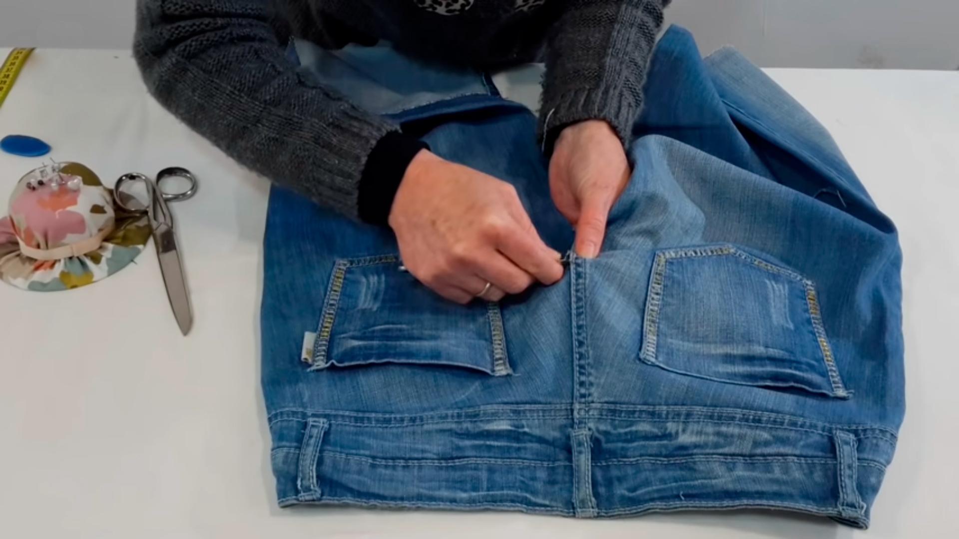 Как сшить юбку из старых джинсов