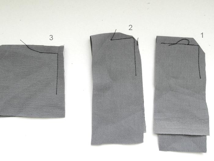 Как сшить прямой угол на ткани